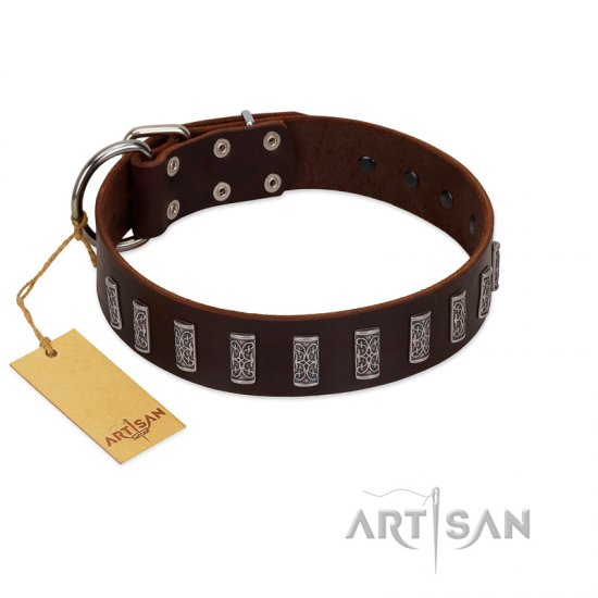"""Brown Lace"" Handmade FDT Artisan Brown Leather Doberman Collar for Everyday Walks"