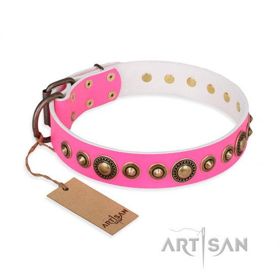 'Pink Gloss' Leather Doberman Collar with Old Bronze-like Plated Circles and Studs 1 1/2 inch (40 mm) Wide