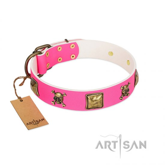 """Wild and Free"" FDT Artisan Pink Leather Doberman Collar with Skulls and Crossbones Combined with Squares"