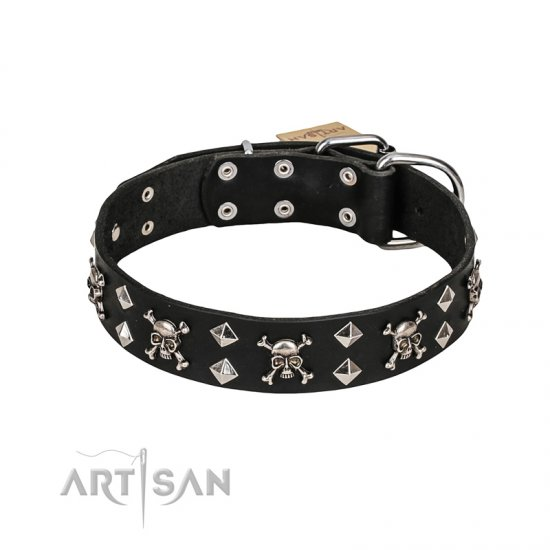 FDT Artisan 'Rock 'n' Roll Style' Leather Doberman Collar with Skulls, Bones and Studs 1 1/2 inch (40 mm) wide