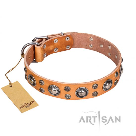 """Extra Sparkle"" FDT Artisan Totally Handcrafted Tan Leather Doberman Collar"