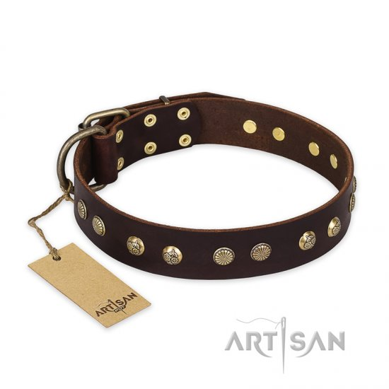 'Bronze Sheen' FDT Artisan Doberman Brown Leather Dog Collar with Old Bronze-Like Plated Studs - 1 1/2 inch (40 mm) wide
