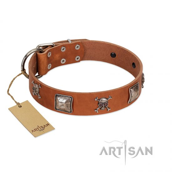 """Amorous Escapade"" Embellished FDT Artisan Tan Leather Doberman Collar with Chrome Plated Crossbones and Plates"