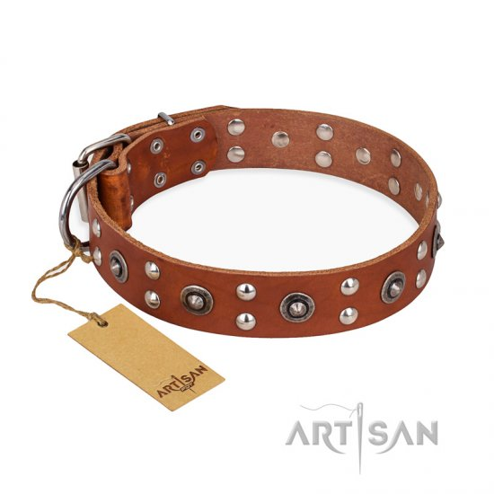 'Silver Elegance' FDT Artisan Tan Leather Doberman Collar with Old Silver-Like Plated Studs and Cones 1 1/2 inch (40 mm) Wide