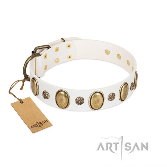 """Nifty Doodad"" FDT Artisan White Leather Doberman Collar with Amazing Large Ovals and Small Studs"