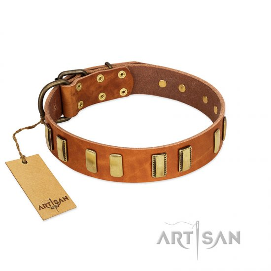 """Olive Slice"" FDT Artisan Tan Leather Doberman Collar with Engraved and Smooth Plates"