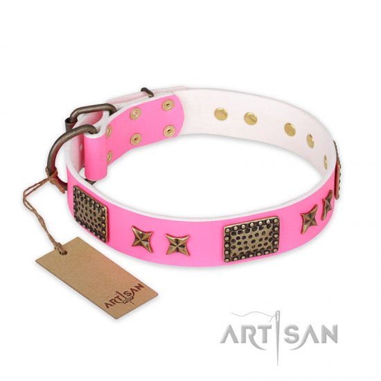 'Tender Pink' FDT Artisan Doberman Leather Dog Collar with Old Bronze Look Stars and Plates - 1 1/2 inch (40 mm) wide