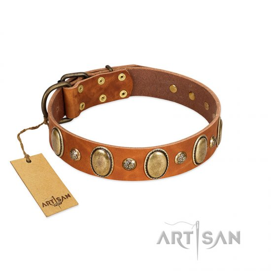 """Venus Breath"" FDT Artisan Tan Leather Doberman Collar with Vintage Looking Oval and Round Studs"