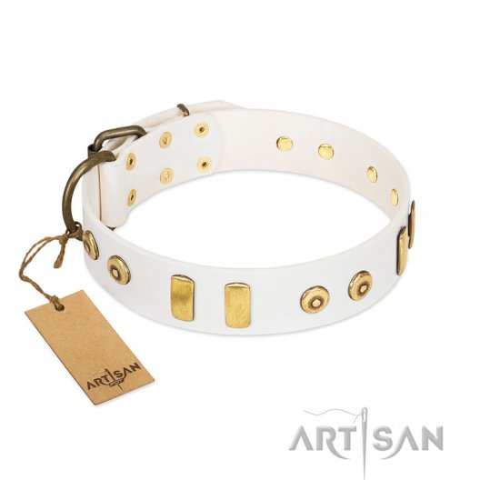 """Golden Union"" Elegant FDT Artisan White Leather Doberman Collar with Old Bronze-like Dotted Studs and Tiles"