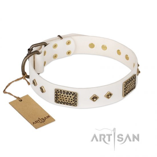 'Snow-covered Gold' FDT Artisan White Leather Doberman Collar - 1 1/2 inch (40mm) wide
