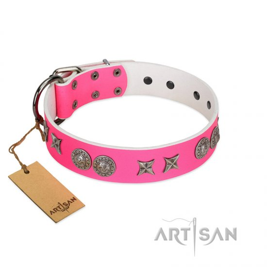 """Striking Fashion"" Handmade FDT Artisan Designer Pink Leather Doberman Collar with Shields and Stars"