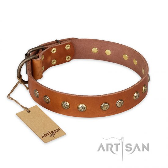 'Spring Flavor' FDT Artisan Doberman Tan Leather Dog Collar with Old Bronze-Like Plated Engraved Studs 1 1/2 inch (40 mm) wide