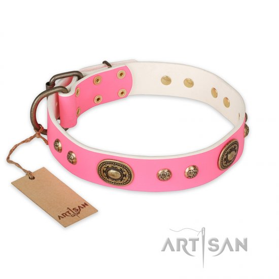 'Sensational Beauty' Glamorous FDT Artisan Pink Leather Doberman Collar - 1 1/2 inch (40 mm) wide