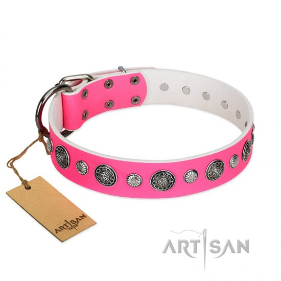 """Glamorous Shine"" FDT Artisan Stylish Leather Doberman Collar with Old Silver-like Plated Decorations"