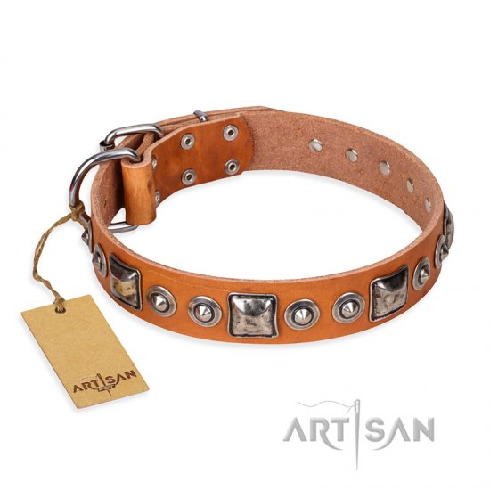 'Era of Future' FDT Artisan Handcrafted Tan Leather Doberman Dog Collar with Decorations