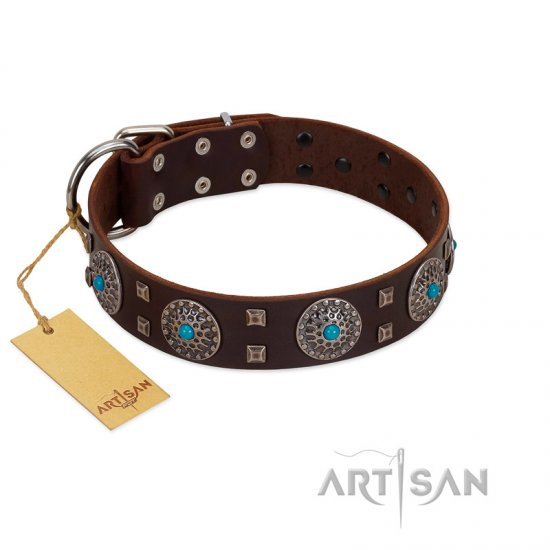 """Hypnotic Stones"" FDT Artisan Brown Leather Doberman Collar with Chrome Plated Brooches and Square Studs"