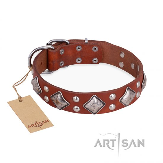 """Magic Squares"" FDT Artisan Easy Adjustable Tan Leather Doberman Collar"