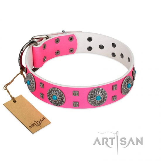 """Pink Delight"" FDT Artisan Pink Leather Doberman Collar for Everyday Walking"