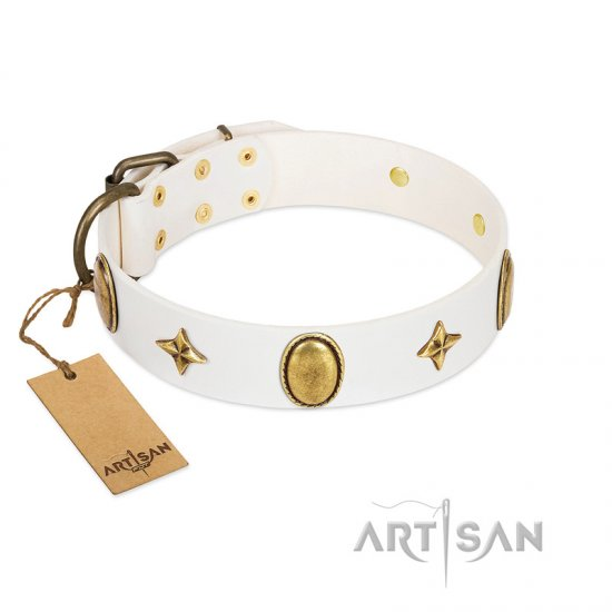 """Hollywood Star"" FDT Artisan White Leather Doberman Collar with Ovals and Stars - 1 1/2 inch Wide"