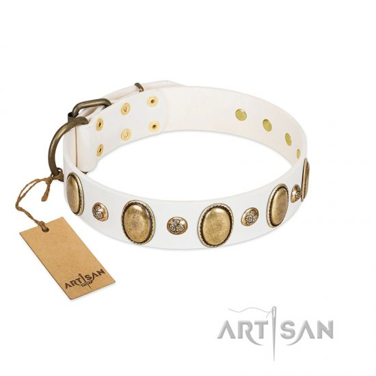 """Milky Lagoon"" FDT Artisan White Leather Doberman Collar with Vintage Looking Oval and Round Adornments"