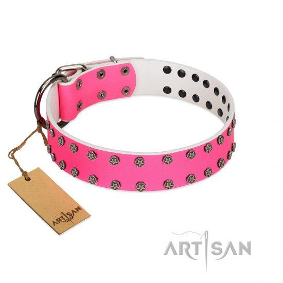 """Pink Fashion"" Designer FDT Artisan Pink Leather Doberman Collar with Silver-Like Studs"