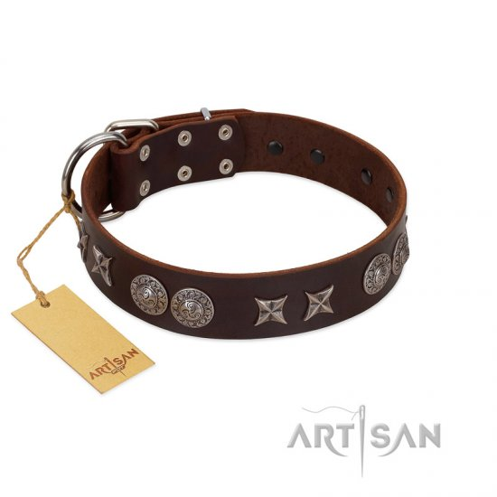 """Antique Style"" Designer Handmade FDT Artisan Brown Leather Doberman Collar"