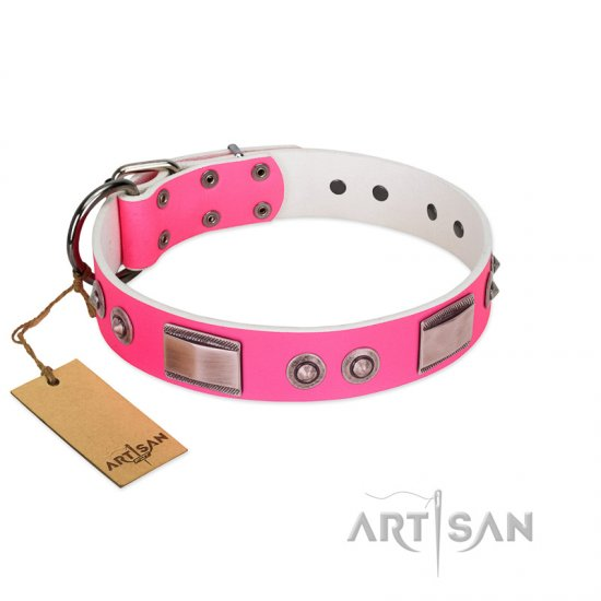 """Lady's Whim"" FDT Artisan Pink Leather Doberman Collar with Plates and Spiked Studs"