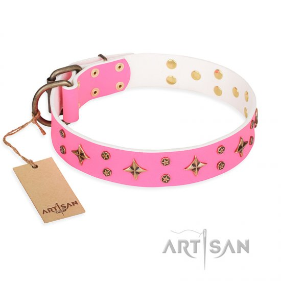 "Doberman ""Chi-Chi Pink Rose"" FDT Artisan Leather Dog Collar with Decorations"