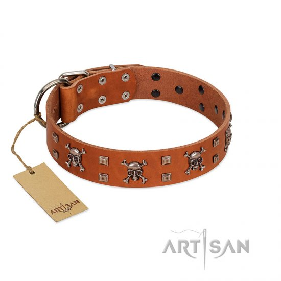 """Rebellious Nature"" FDT Artisan Tan Leather Doberman Collar Embellished with Crossbones and Square Studs"