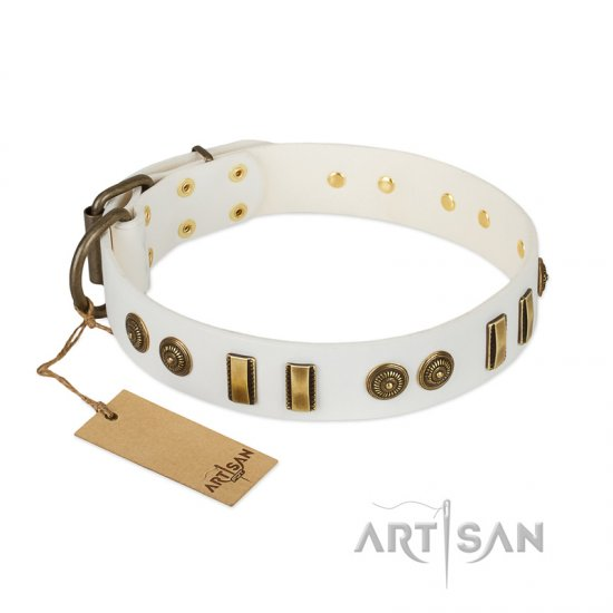"""Midsummer Snow"" FDT Artisan White Leather Doberman Collar with Old Bronze-like Plates and Circles"