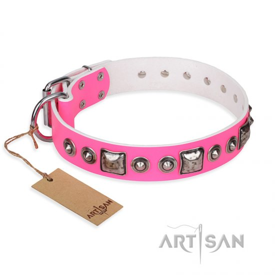 'Juicy Pink' Doberman Studded Leather Dog Collar with Decorations