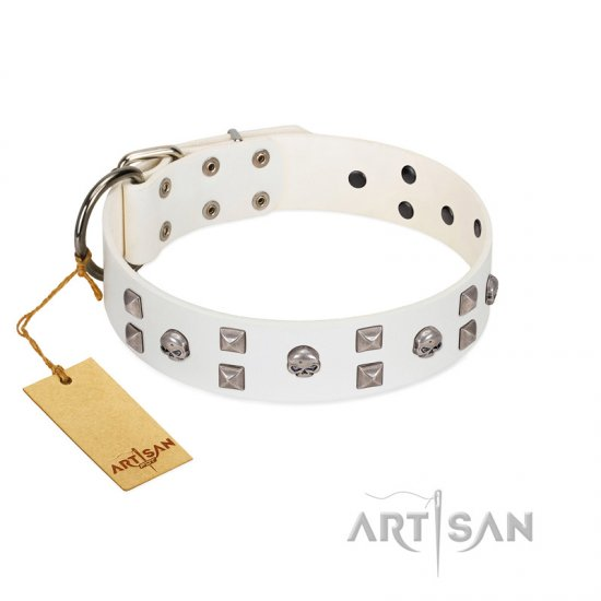 """Rock the Sky"" Durable FDT Artisan White Leather Doberman Collar with Chrome-plated Decorations"