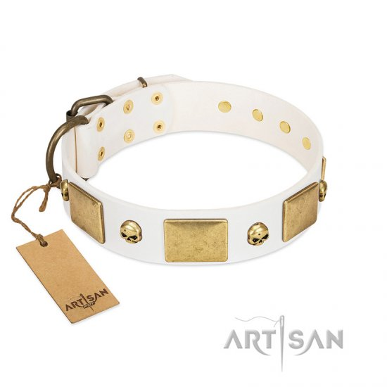 """Inspiration"" FDT Artisan White Leather Doberman Collar with Antiqued Skulls and Plates"
