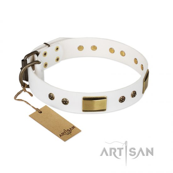 'Precious Necklace' FDT Artisan Doberman White Leather Dog Collar with Plates and Studs - 1 1/2 inch (40 mm) wide
