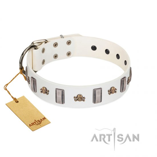"""Mysterious Voyage"" FDT Artisan White Leather Doberman Collar with Engraved Plates and Skulls"