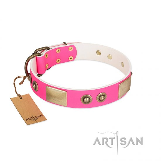"""Pink Splash"" FDT Artisan Soft Leather Doberman Collar with Bronze-like Plates and Medallions"