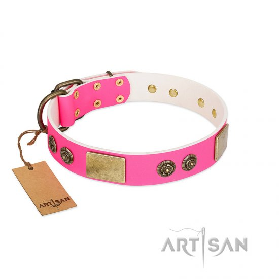 """Queen's Whim"" FDT Artisan Fancy Walking Pink Leather Doberman Collar Adorned with Old Bronze-like Plates and Studs"