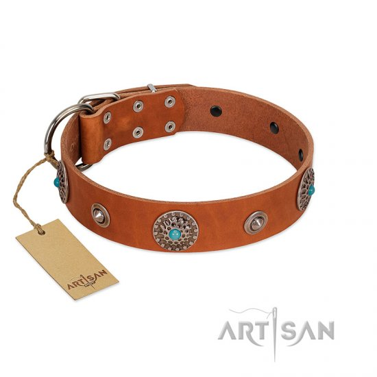 """Marine Antiques"" Handmade FDT Artisan Tan Leather Doberman Collar with Blue Stones"