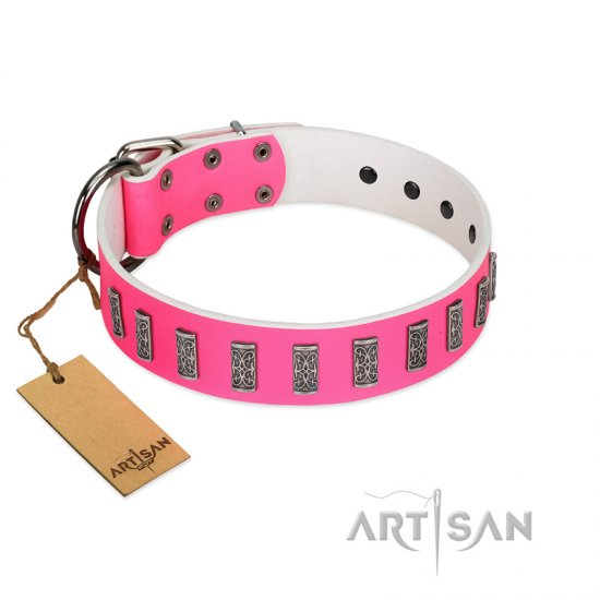 """Pink Necklace"" Handmade FDT Artisan Pink Leather Doberman Collar with Silver-Like Decorations"