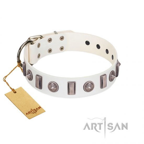 """Icy Spike"" Designer FDT Artisan White Leather Doberman Collar with Silver-Like Decorations"