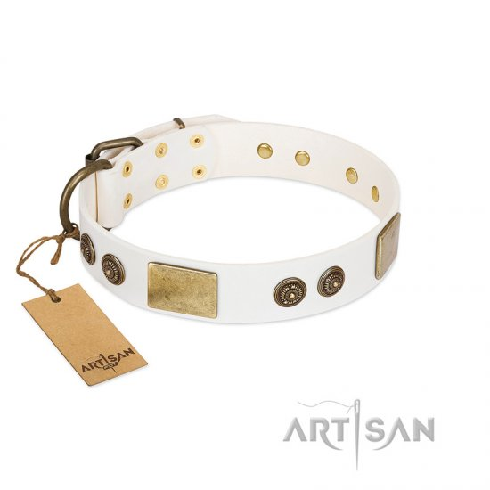 """Sweet Melody"" FDT Artisan White Leather Doberman Collar with Plates and Ornamented Studs"