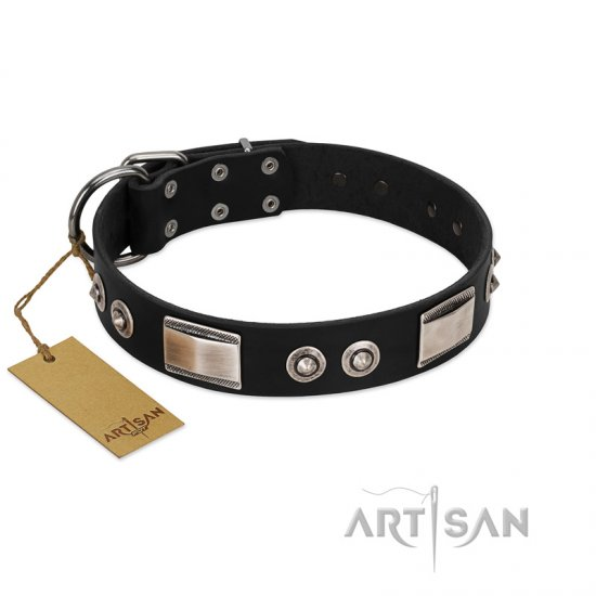"""Grand Wear"" FDT Artisan Black Leather Doberman Collar with Shining Plates and Spiked Studs"