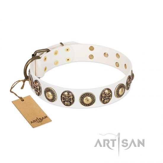 """White Delight"" FDT Artisan White Leather Doberman Collar with Exclusive Embelishments"