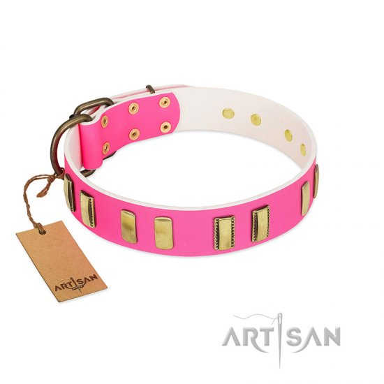 """Rubicund Frill"" FDT Artisan Pink Leather Doberman Collar with Engraved and Smooth Plates"