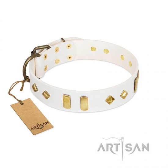"""Hella Cool"" FDT Artisan White Leather Doberman Collar Adorned with Plates and Rhombs"