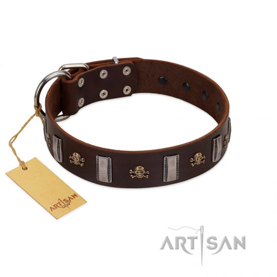 """War Chief"" FDT Artisan Genuine Brown Leather Doberman Collar with Skulls and Plates"