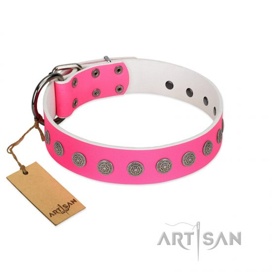 """Pop Star"" Handcrafted FDT Artisan Pink Leather Doberman Collar with Round Plates"