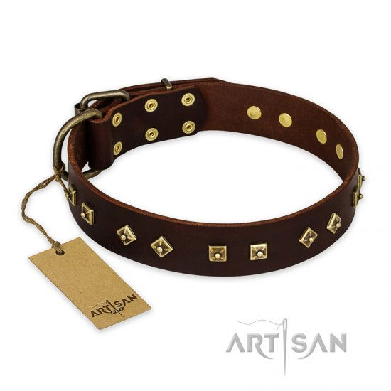 'Fashion Studs' FDT Artisan Decorated Brown Doberman Collar with Old Bronze-Plated Steel Hardware 1 1/2 inch (40 mm) Wide