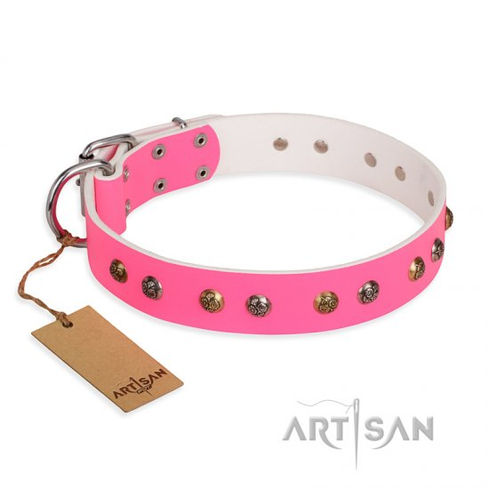 'Sheer Love' FDT Artisan Pink Leather Doberman Collar with Old-look Hemisphere Studs