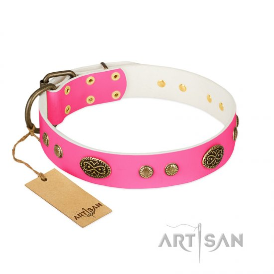 """Twinkle Pink"" FDT Artisan Pink Leather Doberman Collar with Old Bronze Look Plates and Circles"